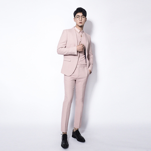 Kawasawa Men's Green Fruit Collar Pink Suit 2 Piece Set 2018 Autumn Original Fashion Suit Suit Groom Dress