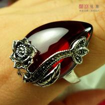 泰银戒指红石榴石食指夸张时尚指环女复古花卉戒子大水滴招财转运