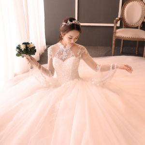 Wedding dress bride 2017 new winter Korean style stand, retro wedding dress, long sleeves and trailing wedding dress