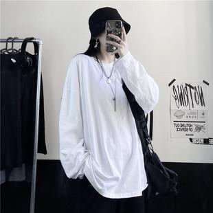 2020年秋新款女装衣服宽松韩版内搭上衣白色打底衫长袖t恤女ins潮图片