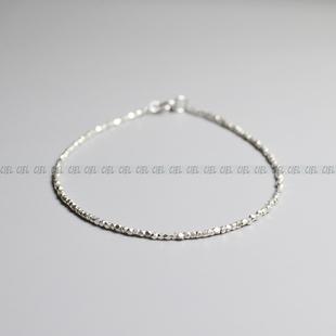 Ciel原创手工泰国清迈925纯银手链切面珠脚链极细1.3mm不规则项链图片