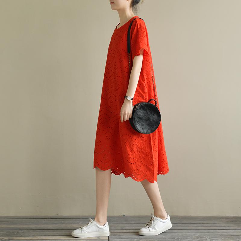 天然出品 海风之路 宽松文艺中长款蕾丝刺绣连衣裙短袖夏季新款