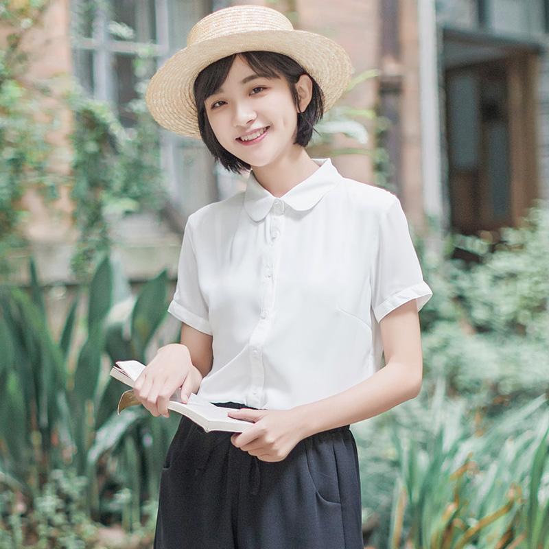 角舍2019夏季新款双层雪纺宽松短袖白衬衫女文艺小清新学院风上衣