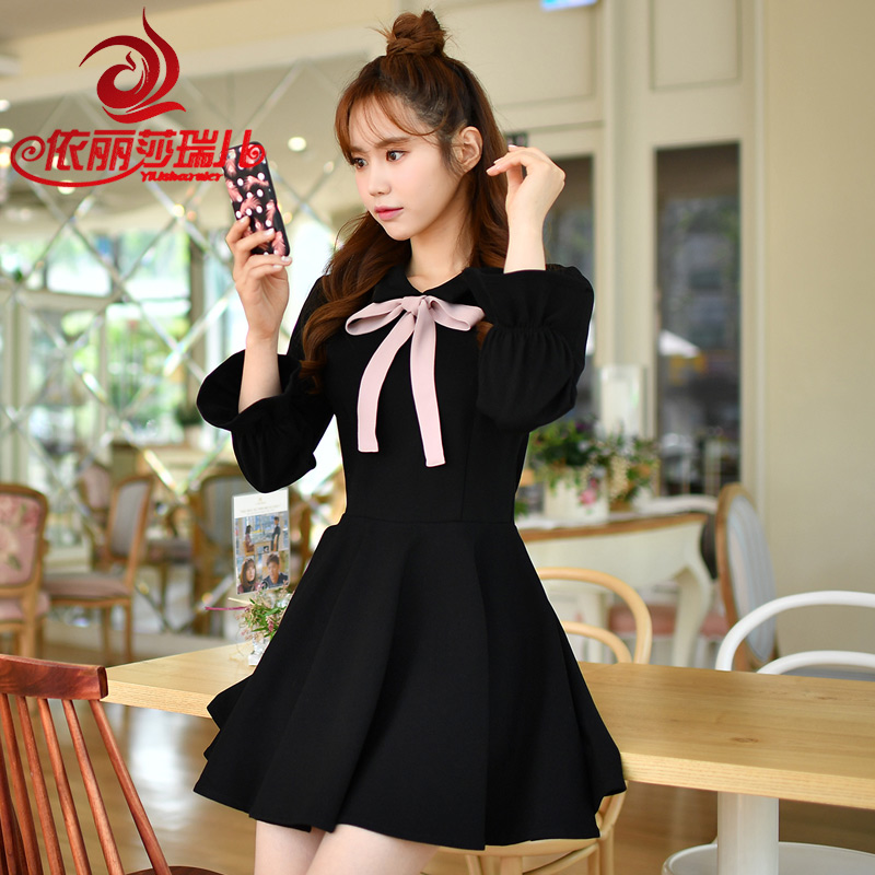 鼕季連衣裙女加厚顯瘦喇叭袖打底裙長袖黑色裙子2017新款韓版時尚