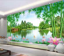 山水风景画中式自粘墙ab7大型壁画up背景墙画墙壁纸山清水秀