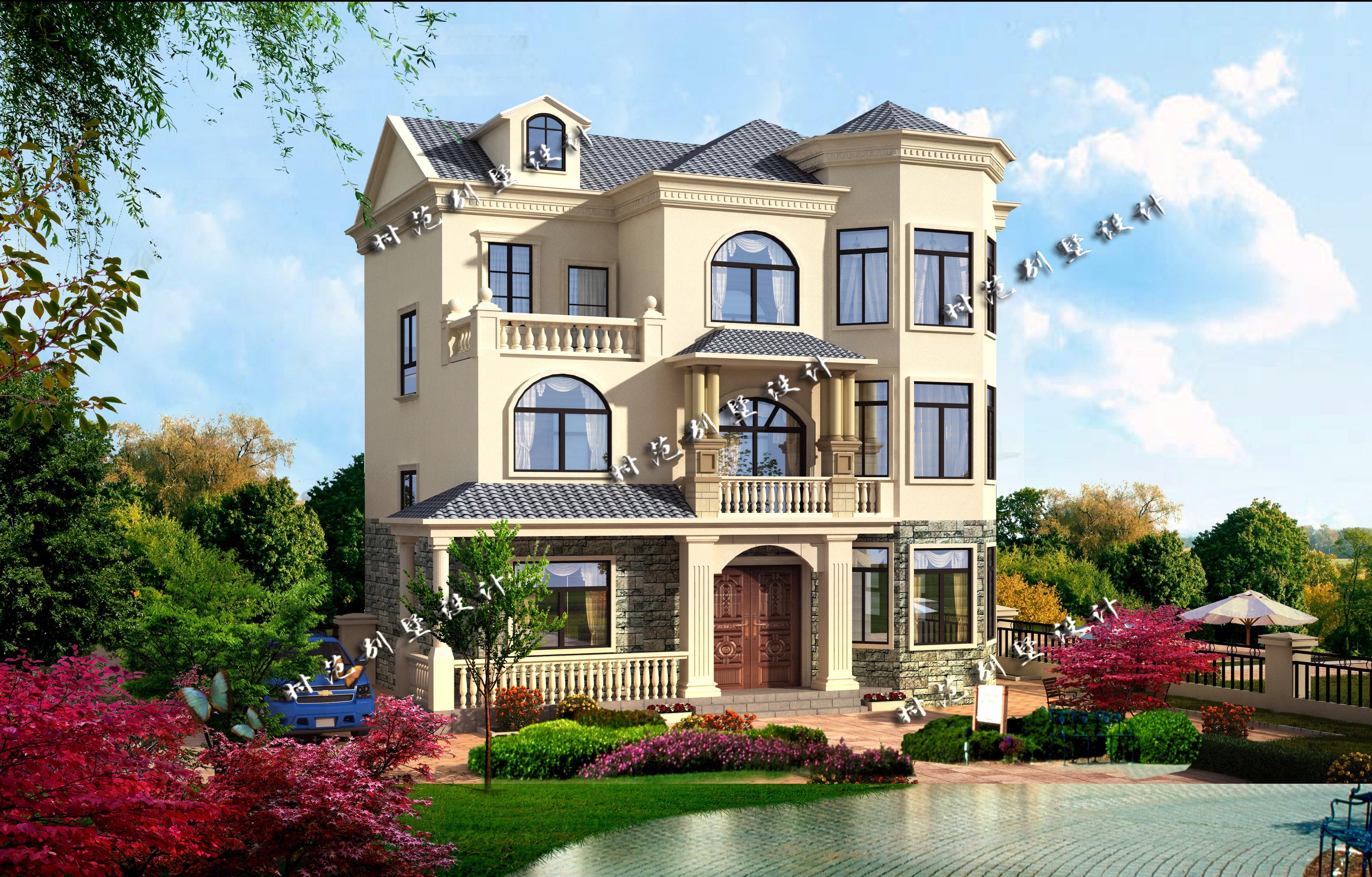 三层欧式房屋设计图纸效果图乡村新农村自建房现代风格豪华小别墅图片