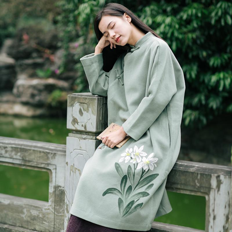复古风新款宽松立领连衣裙毛呢中国风女装少女中裙淡青色秋冬新品