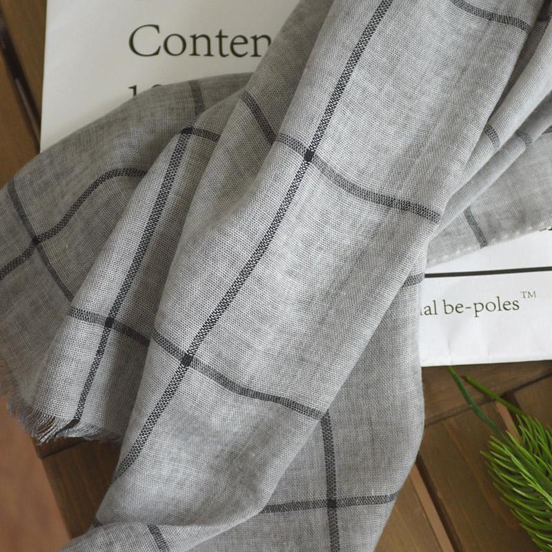 日系素雅格子棉麻围巾女 气质文艺秋季新款丝巾 旅游空调遮阳披肩