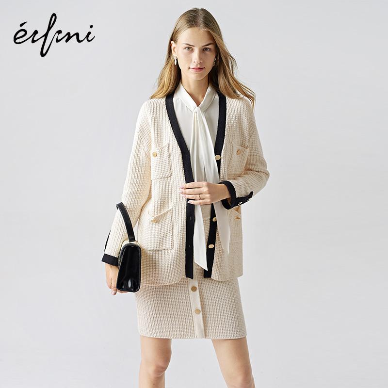 伊芙丽套装女2019新款秋装针织小上衣+短裙职业小香风针织套装裙