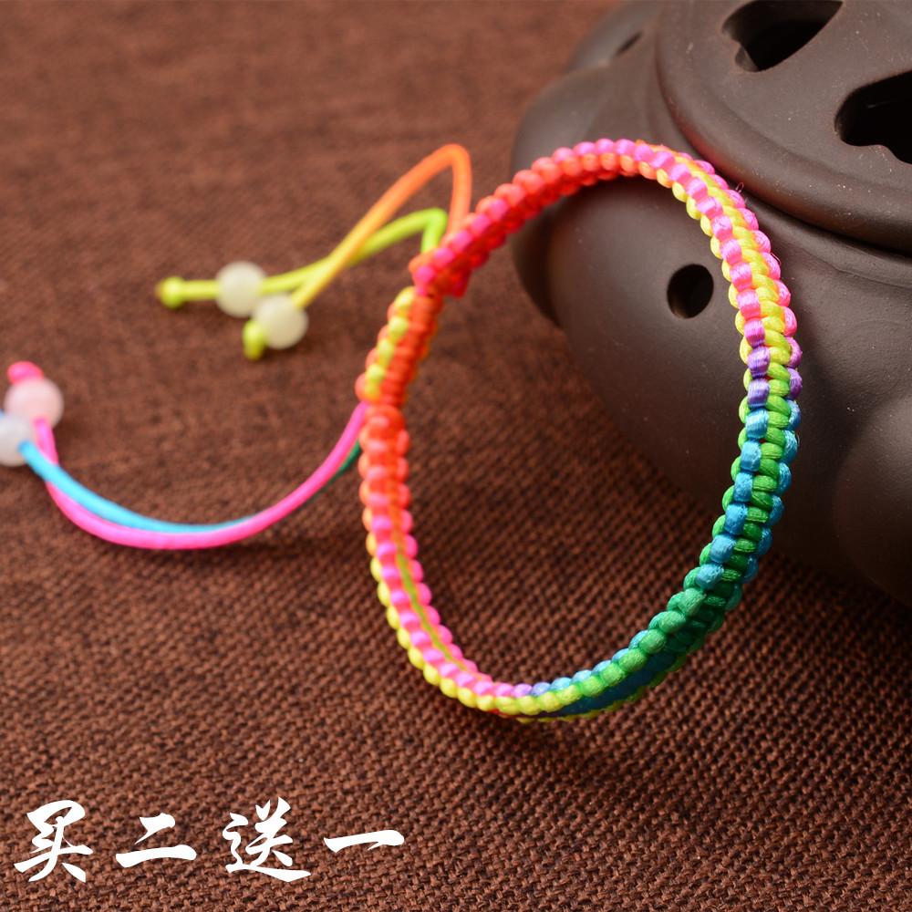 韩国丝线手工编织手链绳子 端午节五彩绳 男女手绳民族风饰品批发_4折