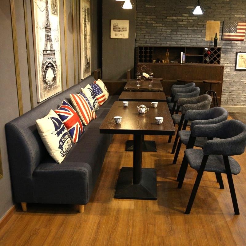 复古西餐厅沙发卡座奶茶店甜品店沙发桌椅组合咖啡厅双人沙发卡座