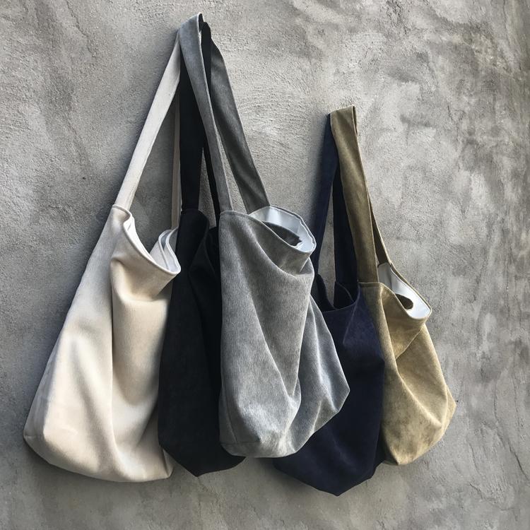 韩风秋新款复古文艺布袋子女书包纯色灯芯绒单肩斜跨布包包拉链袋满22元减3元