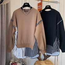 DHR 复古拼接条纹衬衫卫衣女设计感小众日系宽松休闲慵懒风假两件