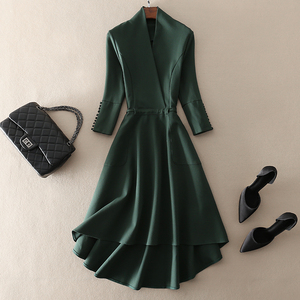 Mid-length Slim Fit Green Sleeve Cropped Sleeve Dress