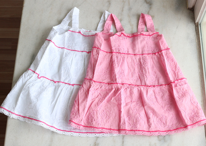 Organic cotton embroidered thin cotton girl's dress baby summer cotton vest skirt suspender skirt single layer cotton