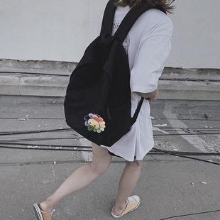 书包女ins风 日系简约潮流校园背包高中生大学生韩版双肩包女帆布