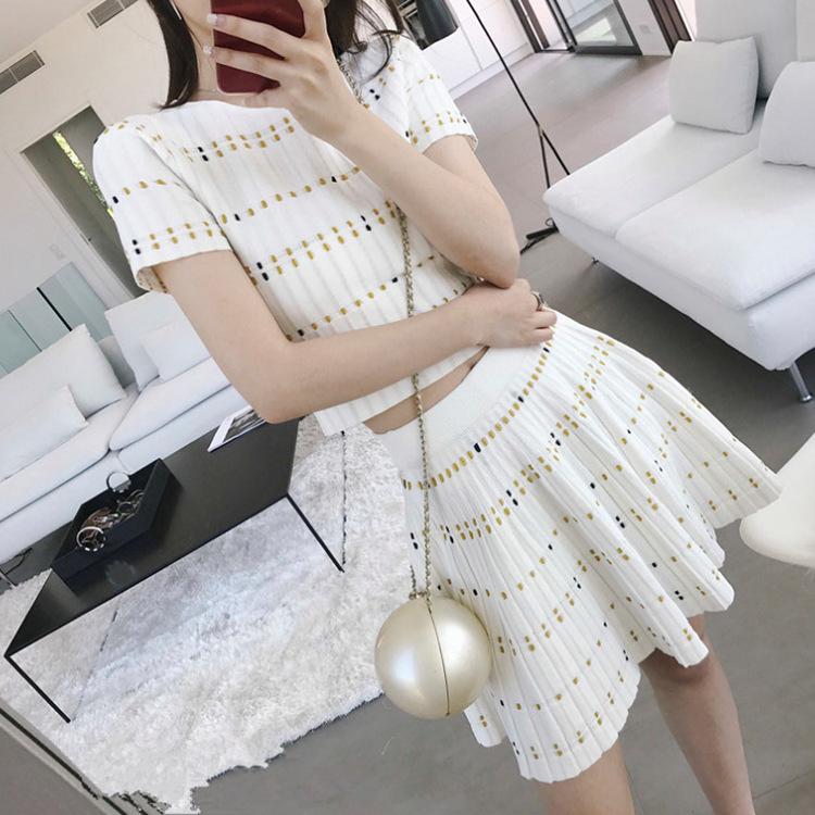 钱夫人CHINSTUDIO同款花针短袖针织T恤时尚套装A字短裙两件