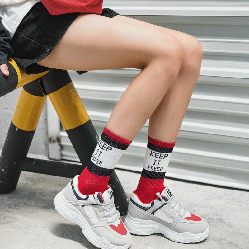 3双欧美袜子女潮街头长袜子韩国学院风中筒袜秋