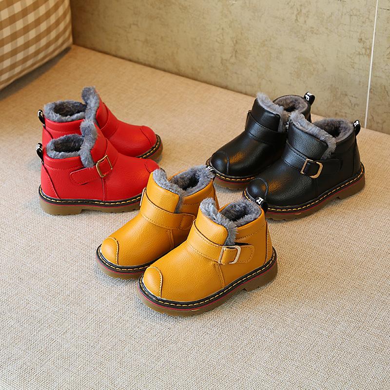 2018韩版儿童马丁靴男童短靴童鞋女童加绒棉靴宝宝加厚保暖棉鞋冬