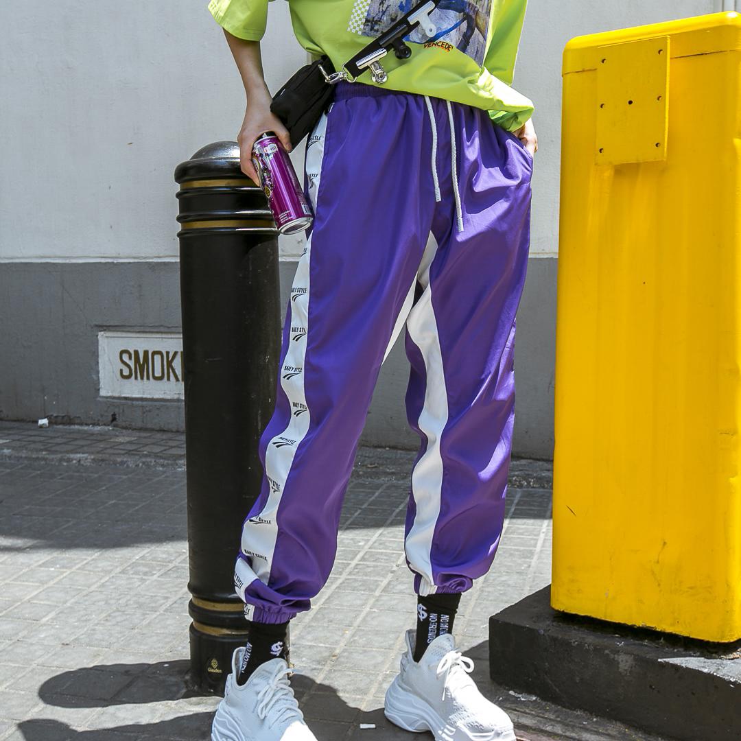 夏装男女款运动休闲裤街头hiphop潮牌侧边拼接抓痕BF百搭束脚长裤
