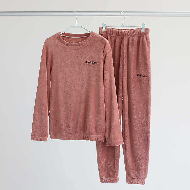 珊瑚绒睡衣女士秋冬季男保暖长袖法兰绒家居服卫衣可外穿两件套装