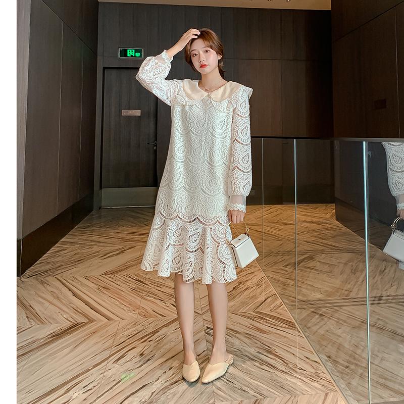 实拍 网红秋冬新款裙子女装韩版长袖法式气质蕾丝打底连衣裙F3140 -
