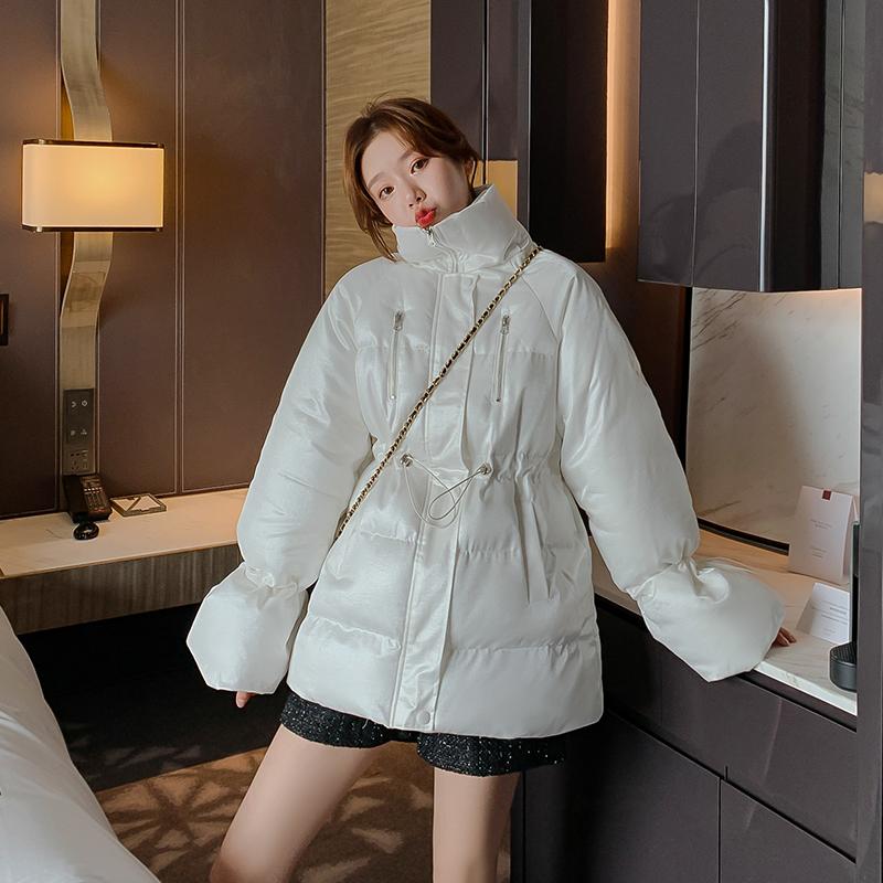实拍 冬季新款羽绒棉服女中长款喇叭袖收腰立领保暖外套女F3127 -
