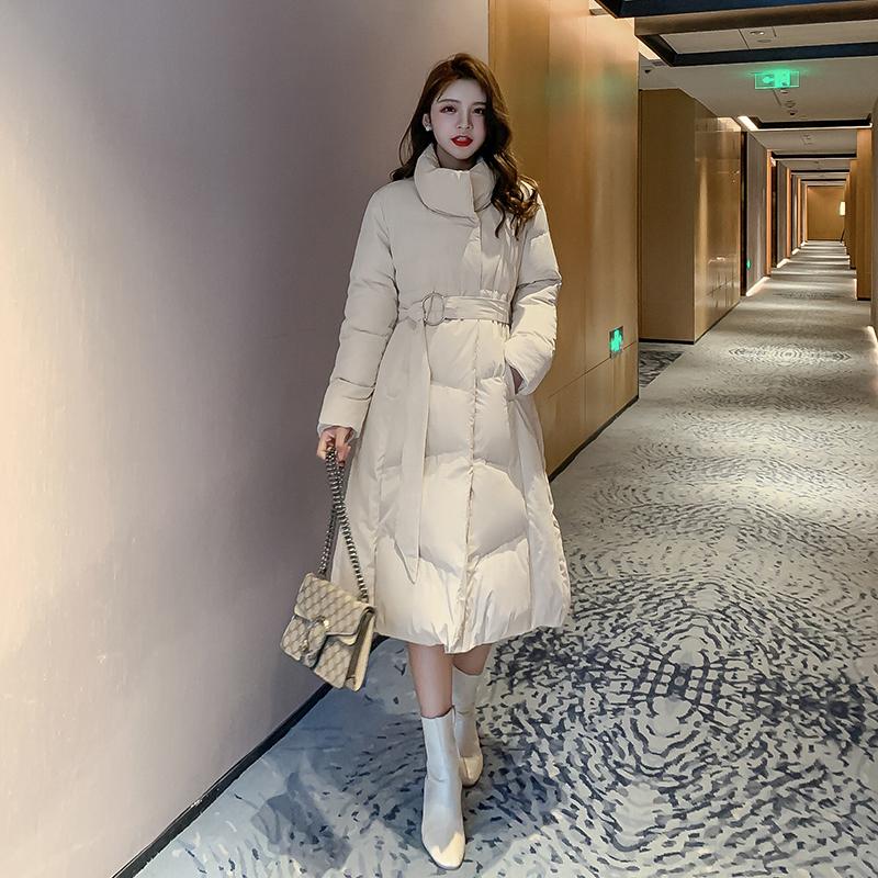 实拍 棉服女冬装2019新款韩版修身棉袄外套百搭中长款棉衣女F7950 -