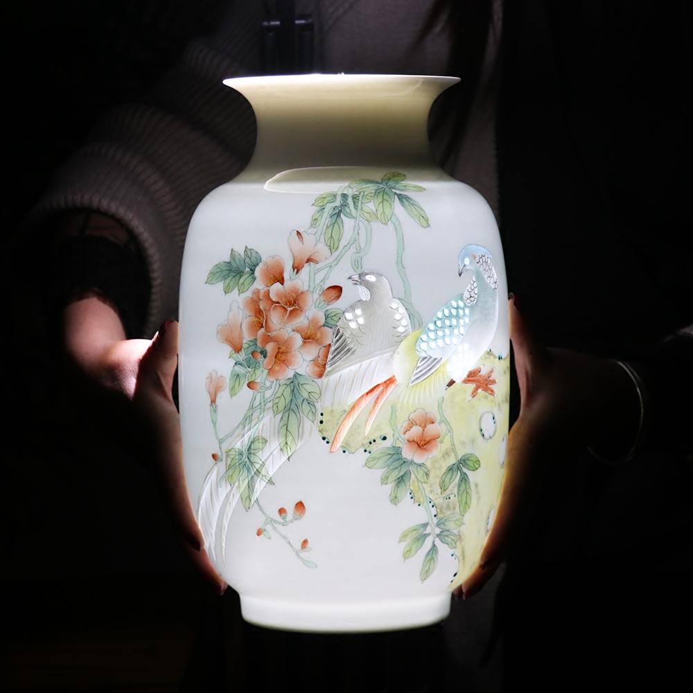 景德镇陶瓷器大师手绘粉彩雕刻玲珑花瓶现代中式家居装饰客厅摆设