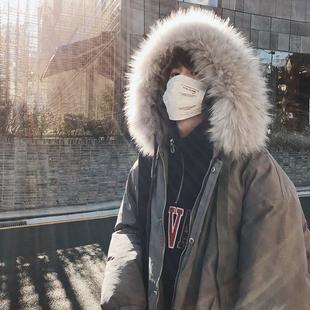 @子俊男装冬季新款大毛领连帽棉衣外套韩版青少年宽松中长款棉服