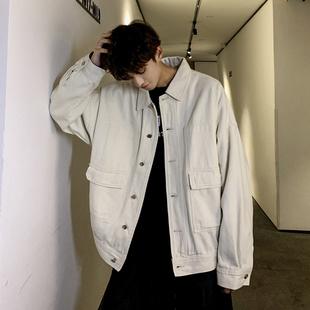 子俊男装韩版复古纯色夹克男春秋季潮流青年宽松外套ins文艺上衣