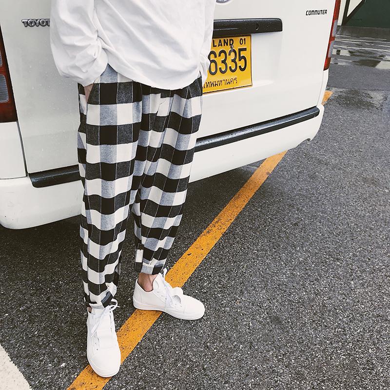 港风夏季新款ins风潮流宽松格子哈伦裤 韩版男士嘻哈阔腿裤休闲裤