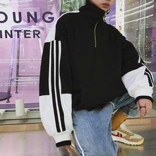 2018春季新品经典三杠运动休闲卫衣男韩版青少年情侣套头衫外套潮