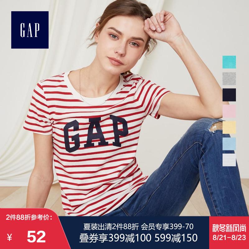 Gap女装夏季纯棉短袖T恤254770 E logo时尚圆领上衣休闲打底衫女