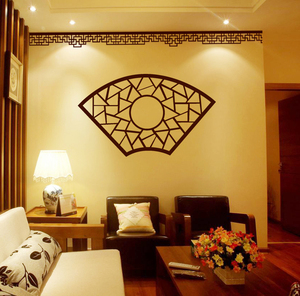 Classical fan-shaped window flower wall sticker Chinese style retro decal new glass sofa TV background wall decoration
