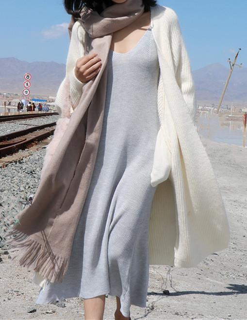 秋冬 新款 针织 吊带 连衣裙 打底