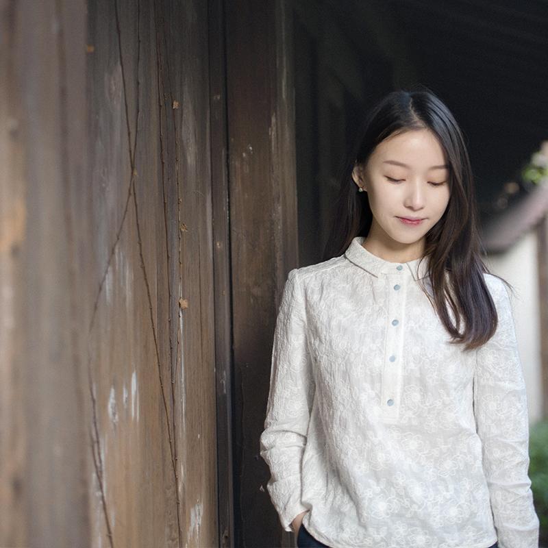 18CXA-034【花影重重】前世今生2018春复古文艺小翻领绣花棉衬衫