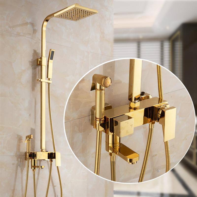 全铜卫生间恒温花洒金色淋浴喷头套装浴室洗手间淋浴器卫浴家用