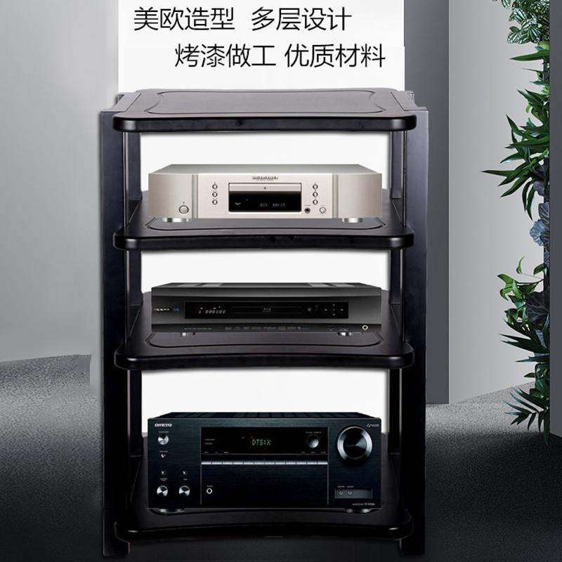 新款欧式功放机柜影院专业功放机架子二三四层实木音响器材视听柜