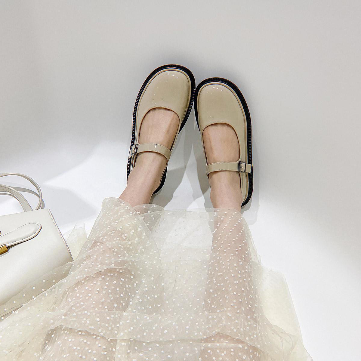 妙侣网红玛丽珍鞋女2020春季新款少女平底鞋复古ins一字带单鞋潮