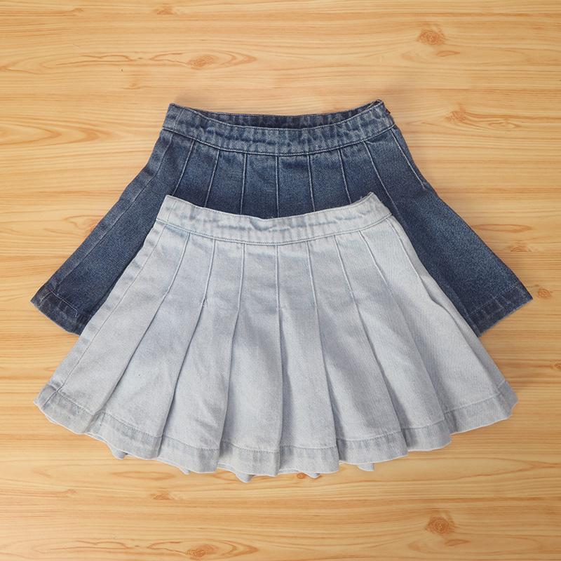 夏季童装 女童侧拉链折叠荷叶裙牛仔短裙 欧美单