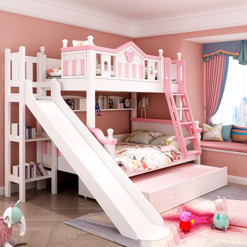 双层床儿童上下带滑梯女公主高低成人实木小户