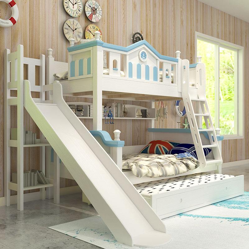 孑母床儿童上下床带拖床实木带滑梯双层床小户