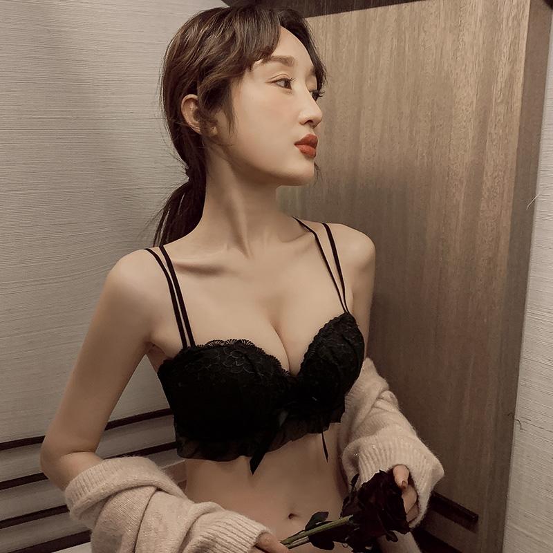 内衣女小胸聚拢厚无钢圈胸罩平胸显大不空杯上托美背文胸性感套装