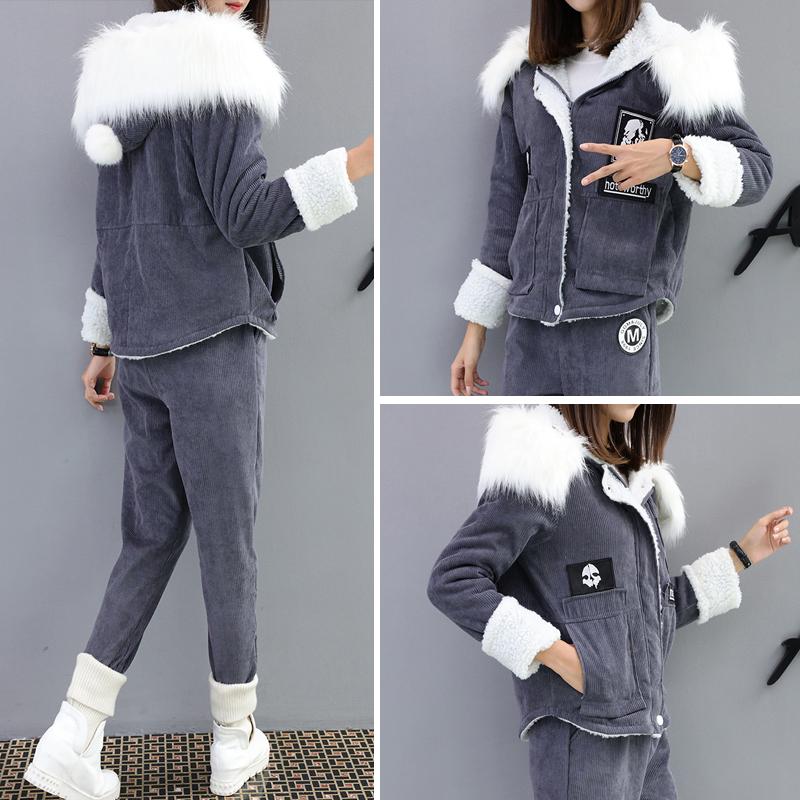 2017新款鼕季燈芯絨大毛領外套韓版加厚兩件套休閑時尚洋氣套裝女