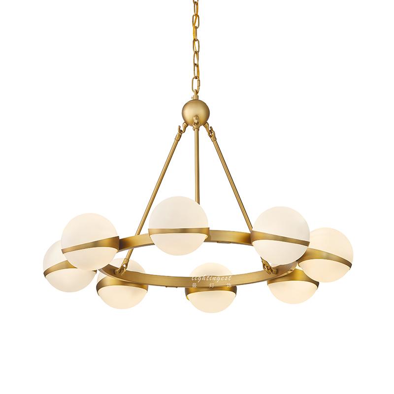 最灯饰美式设计师现代简约创意家用铁艺玻璃球圆环客厅灯卧室吊灯-最灯饰