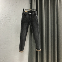 烟灰色铅笔牛仔长裤女装pd8021秋yh身加厚加绒高腰打底(小)脚裤