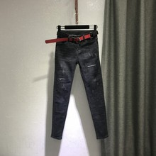 紧身(小)脚裤子2021秋季新式ji11洞弹力an铅笔牛仔裤女长裤潮