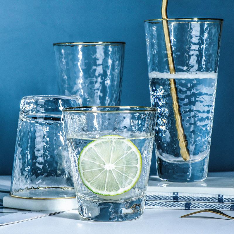 天喜锤纹玻璃杯日式金边水杯家用简约创意杯子ins风果汁饮料茶杯