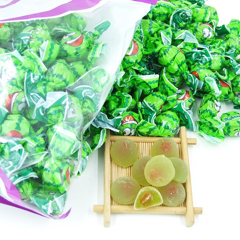 俄罗斯进口水果味夹心软糖康吉Konti罗尼西瓜味果汁橡皮糖果500g